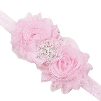 Baby Toddler Double Flowers Snowflake Headbands Hair Band Soft Fabric Simple Headwear Fashion Pink - Intl