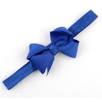 Baby Toddler Infant Bowknot Headbands Elastic Hair Band Simple Soft Pure Color Headwear Fabric Royal Blue - Intl