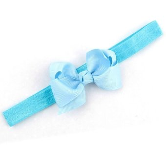Baby Toddler Infant Bowknot Headbands Elastic Hair Band Simple Soft Pure Color Headwear Fabric Sky Blue - Intl