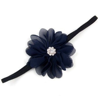 Baby Toddler Wave Shape Flower Crystal Headbands Hair Band Decor Cute Soft Fabric Headwear Black - Intl - picture 2