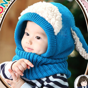 Baby Toddler Winter Beanie Warm Hat Hooded Scarf Earflap KnittedCap(Blue) - Intl - 2