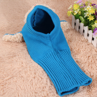 Baby Toddler Winter Beanie Warm Hat Hooded Scarf Earflap KnittedCap(Blue) - Intl - 3
