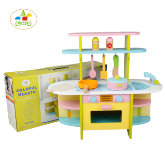 Baby wooden luxury kitchen gas stove toy