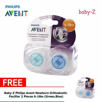 Baby-Z Philips Avent Newborn Orthodontic Pacifier 2 Pieces 6-18m (Green,Blue) Buy One Take One
