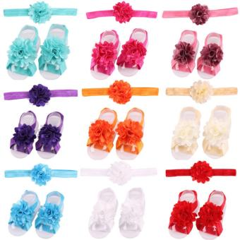 Bear Fashion 17sets Baby Infant headband Footband Foodwear Flower Lace Hair Band Hair Accessories Newborn Baby Girls accessories - intl