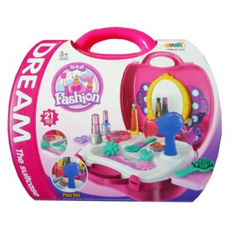 Beauty Make-up Case Pretend Play Set Toy for Girls (Pink)