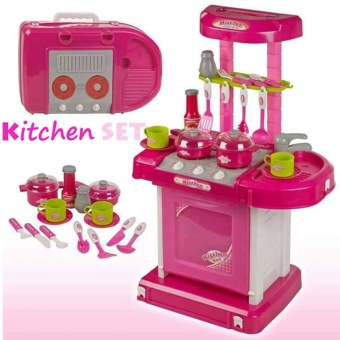 Best Quality Kitchen Cooking Toy Play set with Lights &Sounds(Pink) - 3