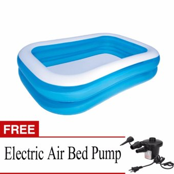 BESTWAY Blue Rectangular Kid's size Pool with FREE Electric Air BedPump