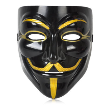 Black Anonymous Mask V for Vendetta Guy Halloween Men Cosplay Costume Collectors