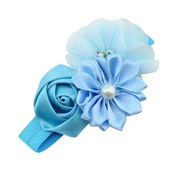 Bluelans® Chiffon Faux Pearl Hairband (Blue)
