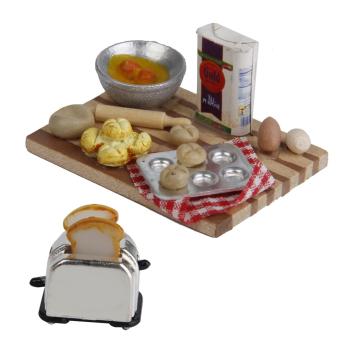 BolehDeals 1/12 Dollhouse Miniature Kitchen Food Eggs Milk Bread onBoard 1 Set - 3