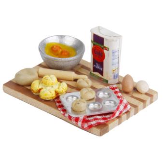 BolehDeals 1/12 Dollhouse Miniature Kitchen Food Eggs Milk Bread onBoard 1 Set - 5