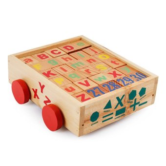 Building Blocks with Alphabets Wooden Toy (Multicolor)