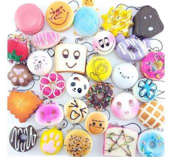 BUYINCOINS 10Pcs Play Food Cute Jumbo Medium Mini Random Squishy Soft Panda/Bread/Cake/Buns Phone Straps Multicolor