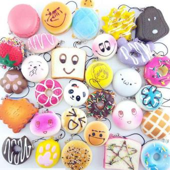 BUYINCOINS 30Pcs Play Food Cute Jumbo Medium Mini Random Squishy Soft Panda/Bread/Cake/Buns Phone Straps Multicolor