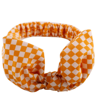 Buytra Baby Headband Bow Elastic Orange Grid - picture 2
