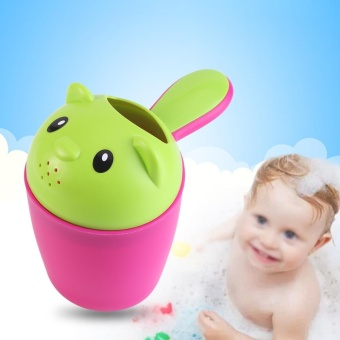 Cartoon Baby Child Hair Wash Shower Water Pourer Bath NozzleShampoo Rinse Cup Rose Red + Green - intl