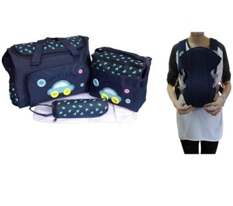 Cartoon Car Mommy Bag TMN- 002 4-in-1 Multi-function Baby Diaper Tote Handbag Set (Blue) With Adjustable Straps Baby Carriers (Blue)
