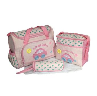 Cartoon Car Mommy Bag TMN- 002 4-in-1 Multi-function Baby DiaperTote Handbag Set (Pink)
