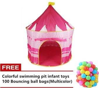 Castle tent (Pink) with Free Colorful swimming pit infant toys 100Bouncing ball bags(Multicolor) Price Philippines