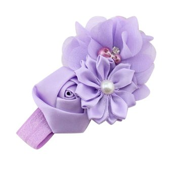 Chiffon Faux Pearl Headband (Purple)