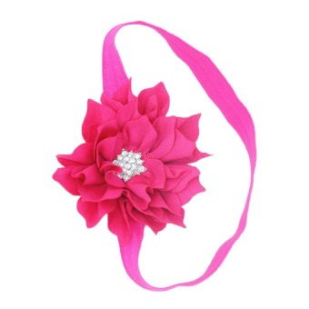 Children flower head hair band diamond BB-235 Fuchsia - Intl