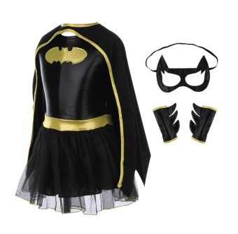 Children Girls Batman Batgirl Fancy Dress Superhero Costume Outfits Comic Cosplay - Intl