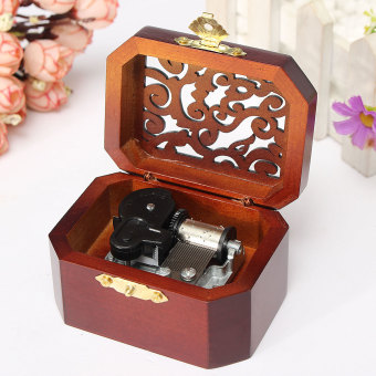 CLASSIC OCTAGON WOOD WIND UP MUSIC BOX:CASTLE IN THE SKY - 4