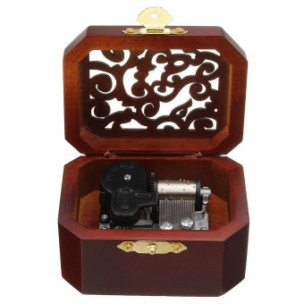 CLASSIC OCTAGON WOOD WIND UP MUSIC BOX:CASTLE IN THE SKY - Intl
