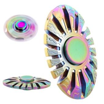 Color Rainbow Aluminum Metal Tri Hand Finger Spinner Fidget EDC Desk Toy Gyro - intl - 3