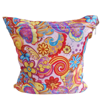 Colorful Flowers Pattern Washable Reusable Waterproof Zippered Baby Cloth Diaper Nappy Bag Wet Dry Bag Tote with Soft Snap Handle