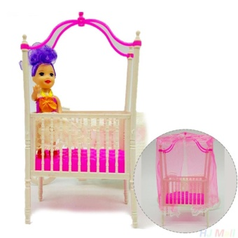 Cool baby Sweet Crib For Barbie Doll Furniture Kelly Doll's Baby Bed Doll Accessories - intl