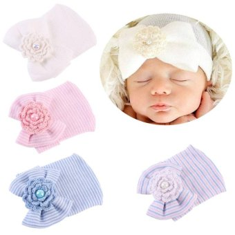 Cotton Baby Newborn Infant Toddler Girls Bow Flower Warm HospitalCap Beanie Hat(White) - intl