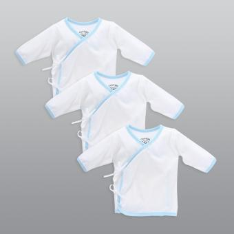 Cotton Stuff - 3-piece Long Sleeve Tie-Side (White with Blue)