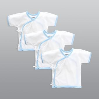 Cotton Stuff - 3-piece Short Sleeve Tie-Side (White with Blue)
