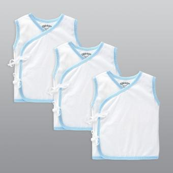 Cotton Stuff - 3-piece Sleeveless Tie-Side (White with Blue)