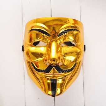 Creative Gold/Silver V for Vendetta Guy Fawkes Mask Anonymous Halloween - intl