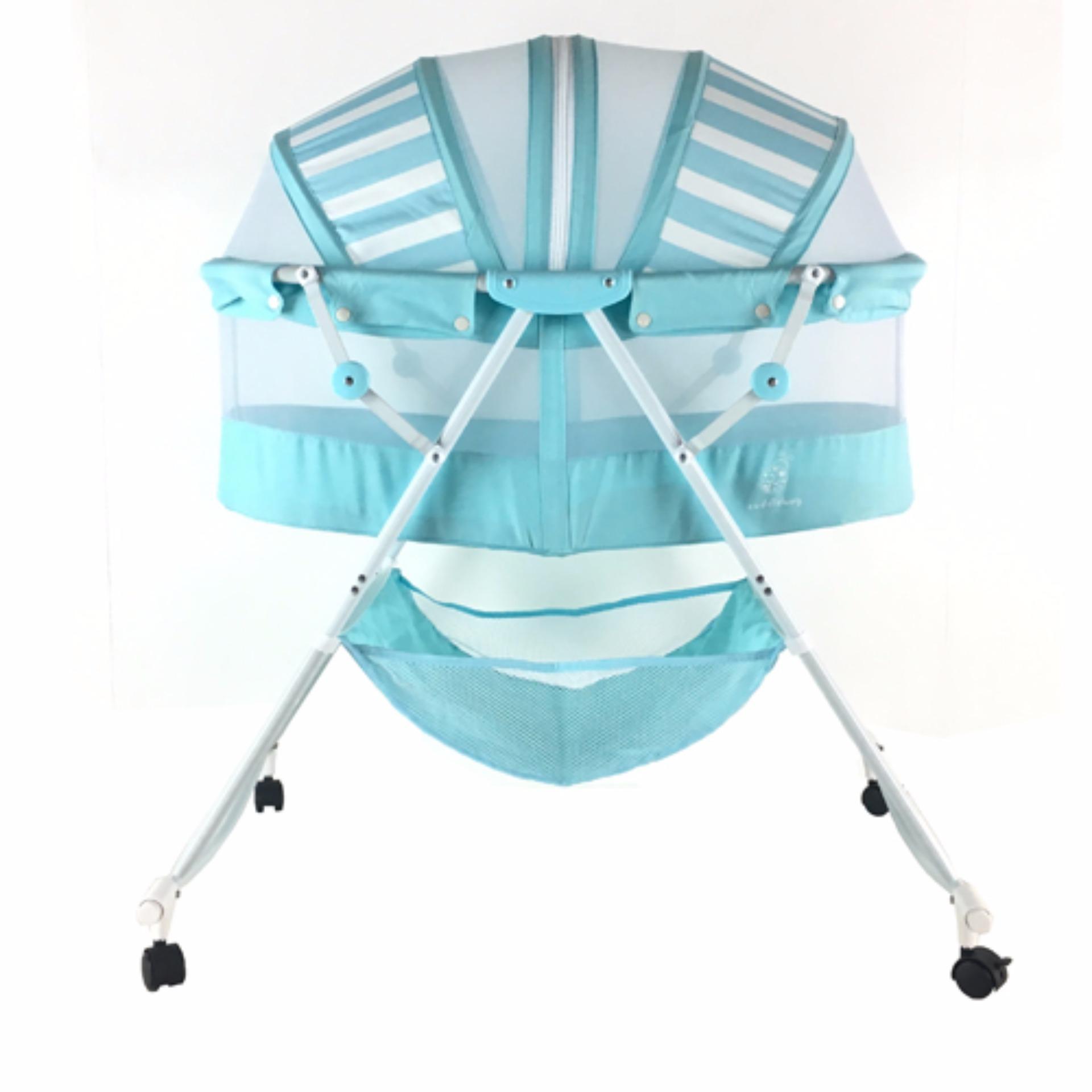 folding bassinet folding bassinet xwb zgsl sl folding  - cuddlebug folding bassinet blue stripes lazada ph