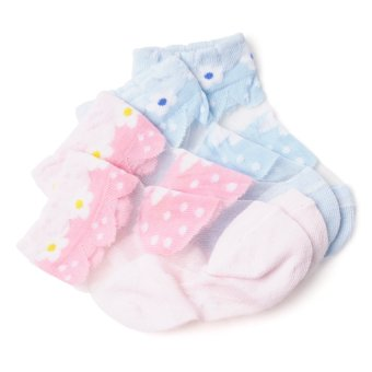 Curity Flower Print Baby Socks Pack of 2 (Pink/Blue)