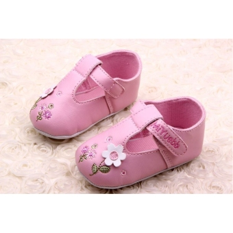 Cute Baby Girls Prewalkers Shoes with Velcro Straps Pink - picture 2