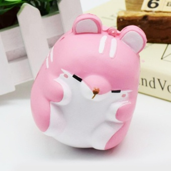 Cute Kawaii Soft Squishy Colorful Simulation Hamster Toy SlowRising for Children Adults Relieves Stress Anxiety Home DecorationSample Model Pink - intl - 4