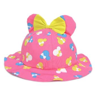 Cute Minnie Mouse Ribbon Hat Pink Red Sunday Bucket Rain Hat SummerHat Minnie Cap for Girls Baby Infant Soft Photography Costume Price Philippines