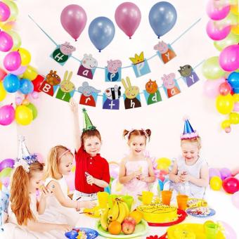 Cute Pig Theme 13 Happy Birthday Flags Birthday Party DecorationBuntings Banner for Kids 56g