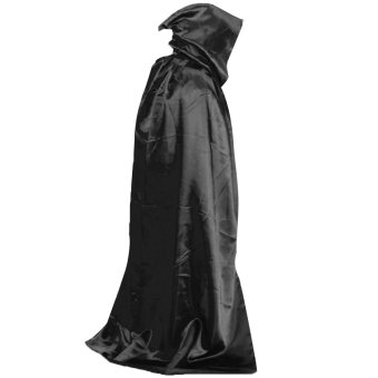 Devil Wicca Robe Vampire Dracula Hoody Cloak Long Tippet Cape for Halloween Costume Theater Role Play Fancy Dress Prop Black