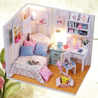 DIY Wood Dollhouse Miniature with LED + Furniture + Cover Doll House Room Model - intl - 5