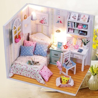 DIY Wood Dollhouse Miniature with LED + Furniture + Cover Doll House Room Model - intl - 2