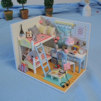 Dollhouse Miniature DIY House Kit Wood Cute Room with LightFurniture and Cover Girl Gift Toy, Young Memory - intl Price Philippines