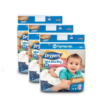 Drypers Wee Wee Dry Mega Pack Medium 74's Pack of 3
