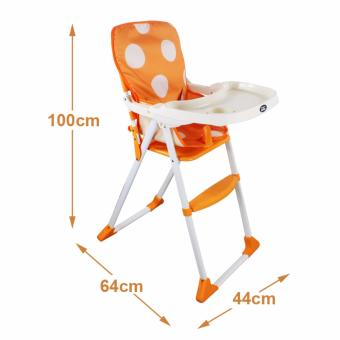 DuoMeite Foldable Polka Dots Baby Feeding High Chair (Orange) - 2