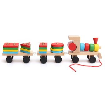 Educational Kid Baby Wooden Solid Wood Stacking Train Toddler Block Toy for Gift